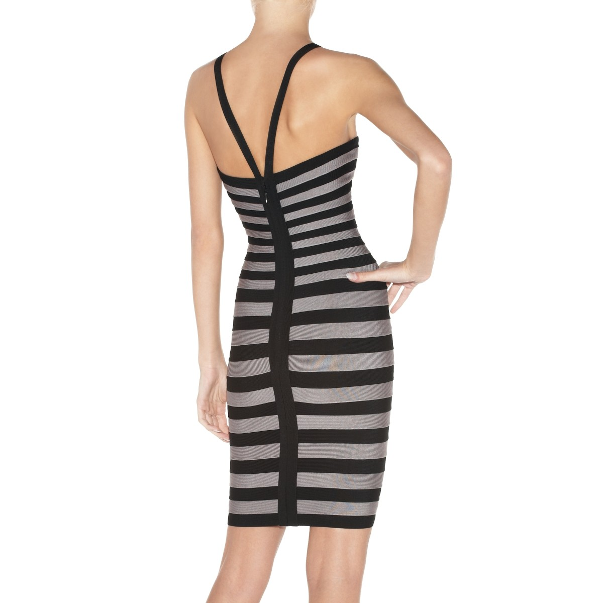 Herve Leger Grey And Black Zindzi Striped Bandage Dres